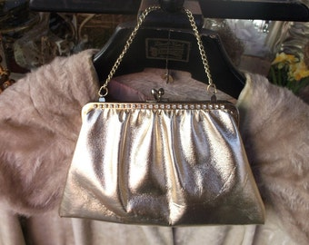 Funky Retro Gold Rhinestone Clutch