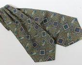 vintage 1960's -Sammy- ascot. Foulard style print - Paisley & Medallion. Olive Green. Tricel (acetate)