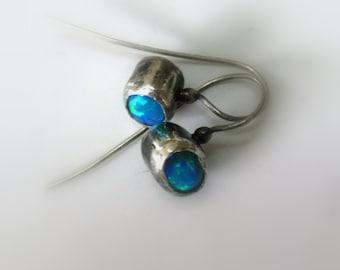 One Of A Kind Stud  Earring -Eco Friendly Sterling Silver Opal  Earrings -  Handmade Jewelry