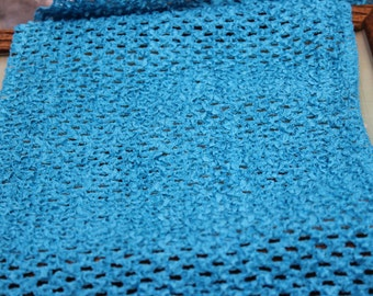 Teal/Turquoise Stretch Waffle Crochet Fabric - 9 inch wide - headbands, tutu tops... 3/4  Yard