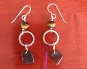 Maui found seaglass and tigers eye earrings