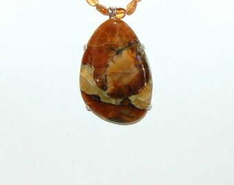 Simbircite Necklace, Golden Honey Caramels, Hessonite Garnets, Russian Gemstone, Sterling Silver, Large Simbircite,