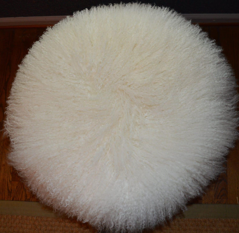 Round Mongolian Lamb Fur Pillow Natural White 18 Tibetan