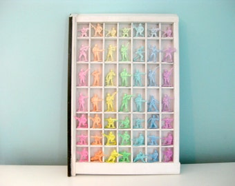 Pastel Army Men Display in Vintage White Letterpress Tray - Painted Art Wall Hanging - ombre rainbow