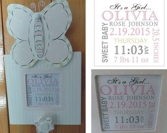 New Baby Gift / Birth Announcement / Baby Frame / Baby Girl Gift - SHIPS FREE / Newborn / Infant Gift / Pink Baby Frame / Butterfly Decor