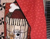 Dogs in the window Handmade Quilt, Unique Patchwork Twin size 72 X 83, Dog Print Fabrics *** Free shipping in the USA***