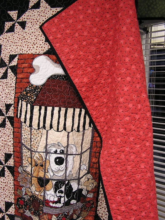 Dogs In The Window Handmade Quilt Unique Patchwork Twin Size