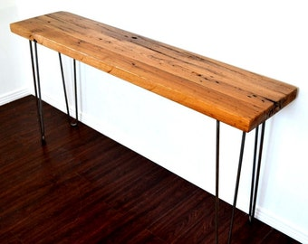 "Console Table Or Desk 60"" Reclaimed Chestnut Topper On Steel Hairpin Legs SALE ITEM"