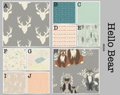 Crib Bedding- Design Your Own Baby Bedding- Hello Bear Stone- mint, gray, antlers, fox, woodland