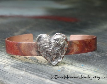 Heart cuff bracelet,mixed metal heart bracelet,copper and sterling silver,one of a kind,artisan hand fabricated metalsmith jewelry,valentine