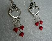 Heart Earrings heart earrings red earrings dangle earrings little heart earrings handcrafted earrings hand painted earrings present gif