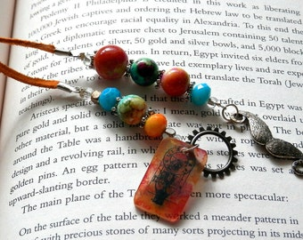 Candy Colored Mustache Steampunk Time Traveler Beaded BookMark