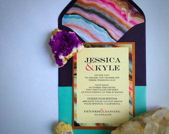 NEW! Gemstone Agate Geode Turquoise, Pink and Purple Wedding Invitation