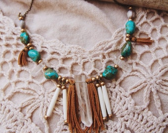 BCN-02, Free U.S. Shipping, handmade southwest style crystal point and turquoise brass necklace with bone beads and leather fr