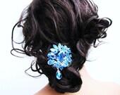 Blue sparkling rhinestone hair comb, chandelier rhinestone bridal fascinator, something blue, wedding head piece  - Baily
