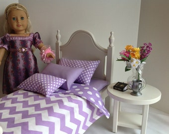 American Girl Doll: Furniture classic white bed with lavender chevron and dots bedding