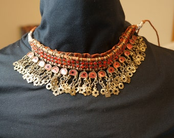 KUCHI  EAST INDIAN tribal  necklace choker /  Ragesthan  / India / belly dancing No.002044 cs