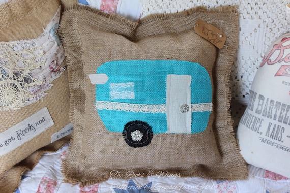 Vintage Camper Burlap Pillow