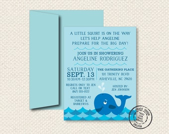 Whale Theme Baby Shower - 25 Custom Invitations with Envelopes
