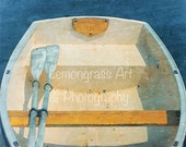 Rowboat, Oars, 8x10 + More Sizes, Yellow, Boat, Blue, Photography, Prints, Wooden, Vintage, Dinghies, Skiffs, Beach, Cottage Decor, Wall Art