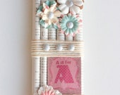 Decorative wall hanging- pink and teal- A is for Adorable- READY TO SHIP