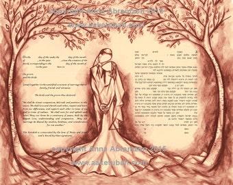 Ketubah marriage contract, customized ketubah, modern ketubah, interfaith ketubah, ketubot, ketubahs, Jewish wedding, personalized ketubah