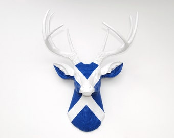 Scottish Flag Deer Head - Scotland Flag Hand Painted on Faux Resin Stag Head Wall Mount - D010501