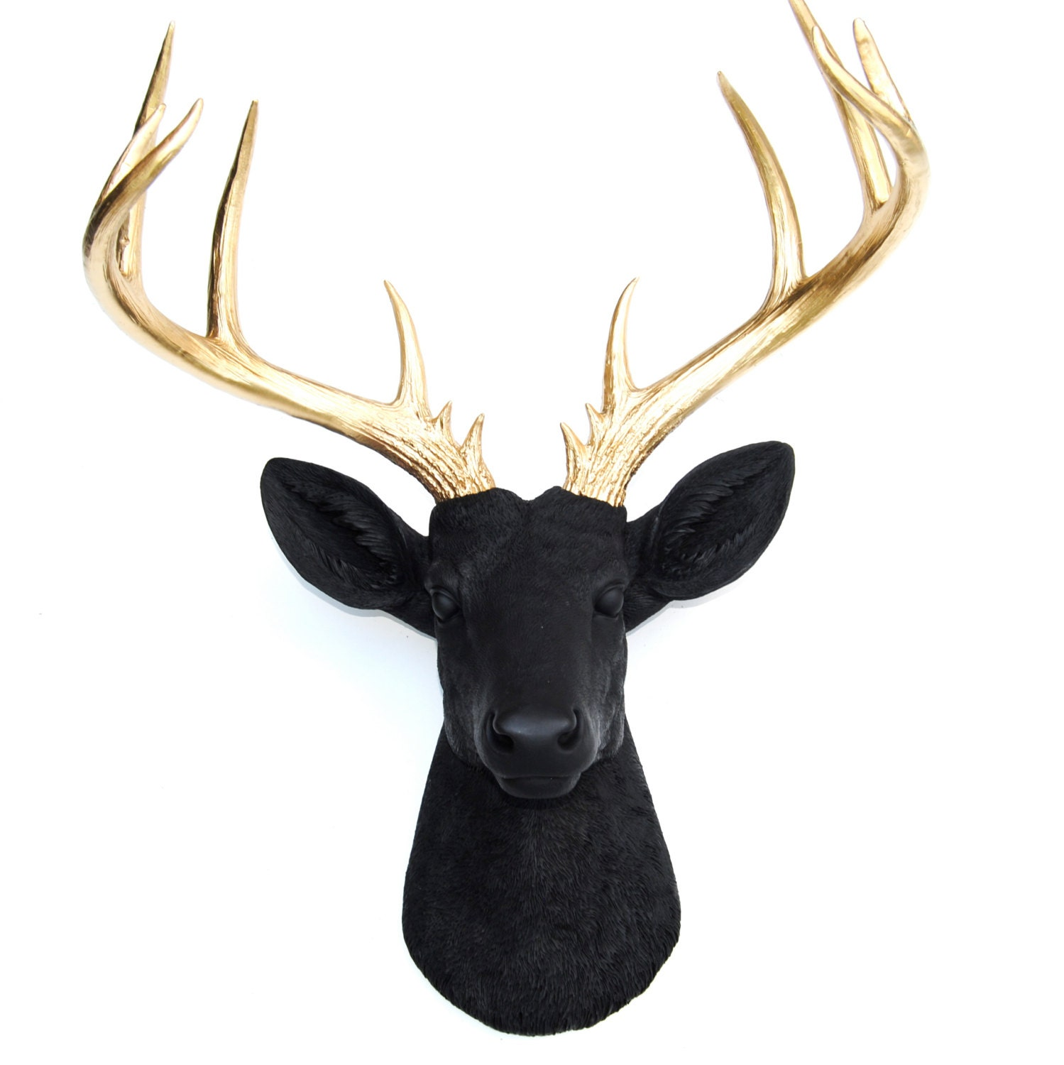 Large deer head black and gold deer head wall mount 14 zoom amipublicfo Image collections