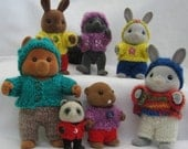 PDF Playing in the Woods knitting pattern for Sylvanian & Calico Critter Families, cute kawaii Digital
