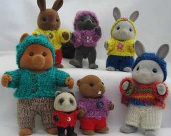 PDF Playing in the Woods knitting pattern for Sylvanian & Calico Critter Families, cute kawaii decoration