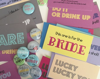 25 buttons and 48 Dare Cards v.1 - Bachelorette Party Pack