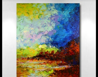 "Original Large Abstract Wetland Landscape Painting- ""River Delta""- by Claire McElveen"