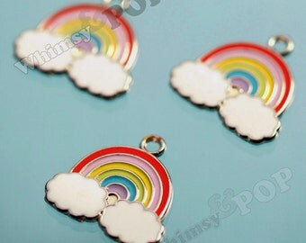 Rainbow Enamel Silver Tone Charms, Rainbow Pendants, Rainbow Charms (4-2A)