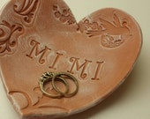 Handmade Pottery Mother's Day Rustic Heart Dish for Mimi