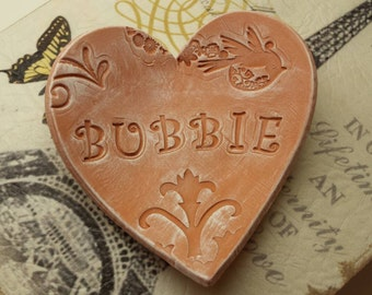 Handmade Pottery Mother's Day Rustic Heart Dish for Bubbie