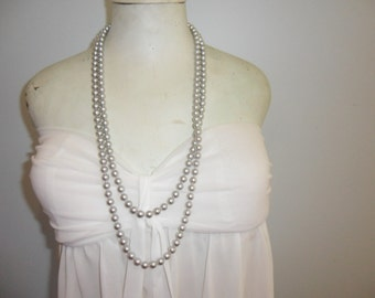 Authentic Vintage Hi End Silver Hand Knotted Very Long Necklace