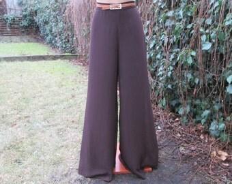 Wide Legs Pants Vintage / EUR46 / UK18 / Brown / Chocolate / All Lining / Elastic Waist on Back.