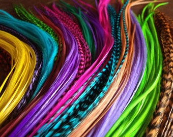 16 Pcs All Dyed Loose Feather Hair Extensions Colorful Mixed Pack, Long Hair Feather Extensions, Hair Accessories Crimp In