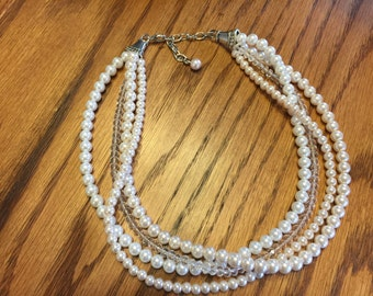 Ivory an white pearls with clear crystals bridesmaid necklace