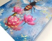 Bee Lessons Wish Keeper mixed media on wood 9x12""