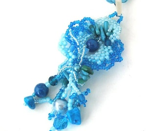 Blue necklace, Beaded necklace, Freeform peyote, Gift for her, Seed bead necklace, Turquoise blue