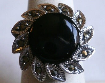 Sterling Silver Onyx Ring-Size 6 7/8