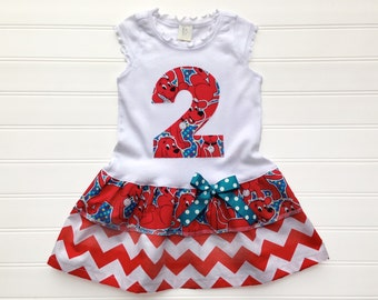 Big Red Dog Dress Birthday Dress Girls Dresses Girls Birthday  Dog Dress Baby Toddlers 6 12 18 24 months Girls 2 3 4 5 6 8