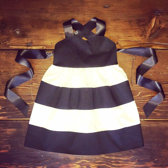 Black and white Toddler dress striped dress black white