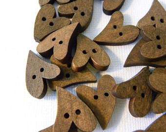 Brown wood heart button beads