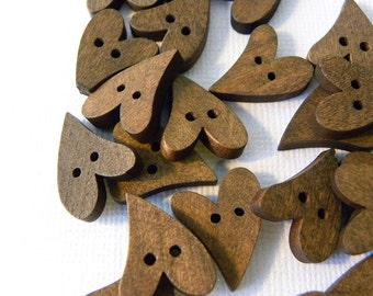 Brown wood heart button beads