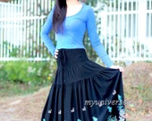 Skirt Black Floral Skirt Fall Party Women Skirt Gifts Idea Cotton A Line Ladies
