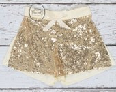girls gold shorts- gold girls birthday outfit- girls gold sequin shorts- toddler gold shorts- toddler sequin shorts- girls shorts- birthday