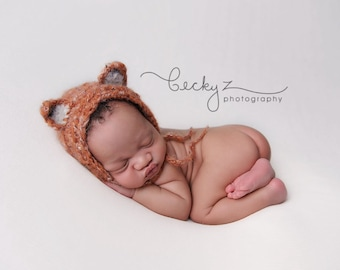 Fantastic woodland fluffy fox bonnet. Choose your size. Great photo photography prop.