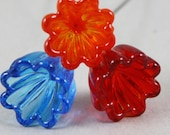 3 Glass fairy garden flowers in blue, orange and red (Item 15728F)